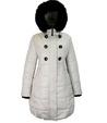 ntmama.  Зимнее утепленное стеганное пальто из плащевой ткани с капюшоном.  Капюшон отделан натуральным мехом песца.